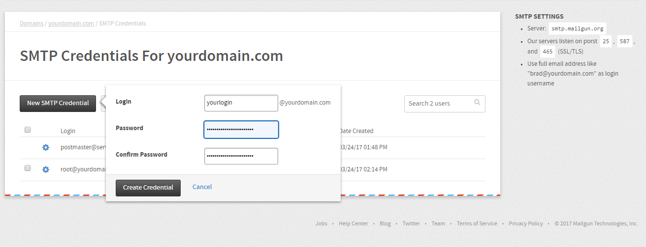 Create SMTP Credentials