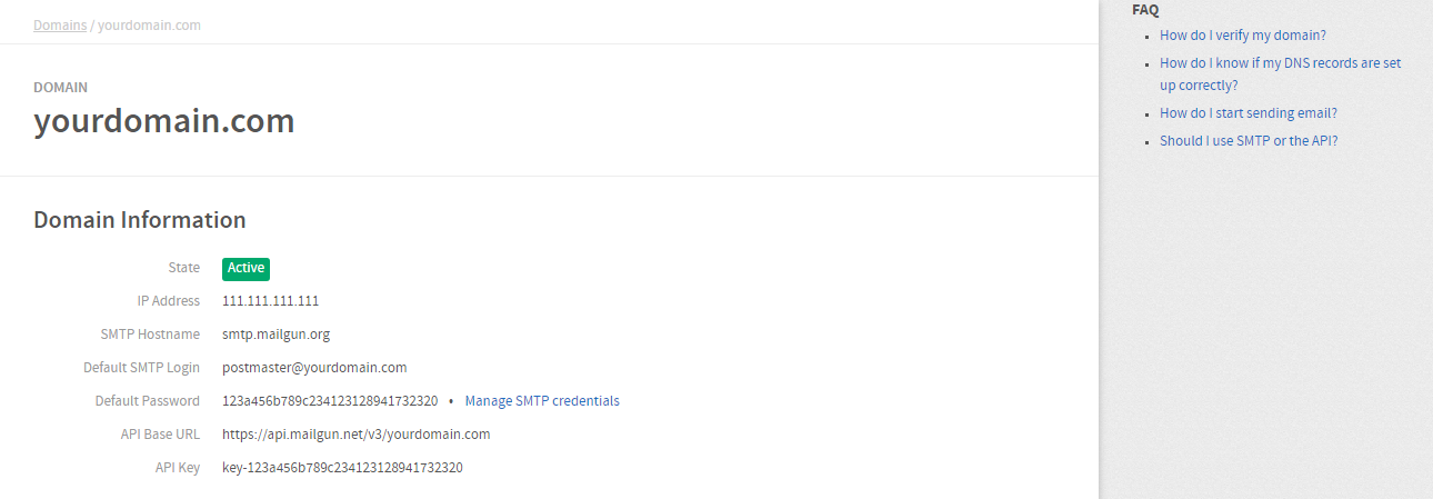 Mailgun Manage SMTP